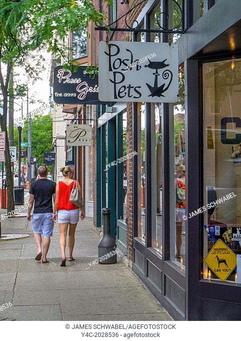 Couple walking in Short North area of Columbus Ohio United States
