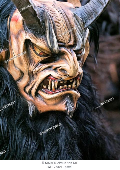 Krampuslauf or Perchtenlauf during advent in Munich, an old alpine tradition taking place during christmas time in Bavaria, Austria and South Tyrol