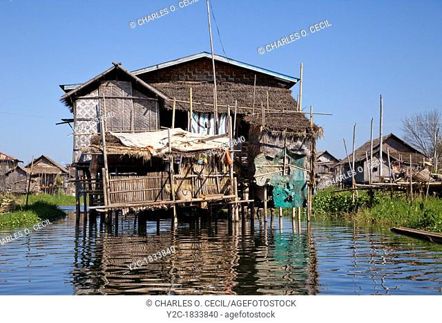 Myanmar, Burma  Village House on Stilts, Inle Lake, Shan State