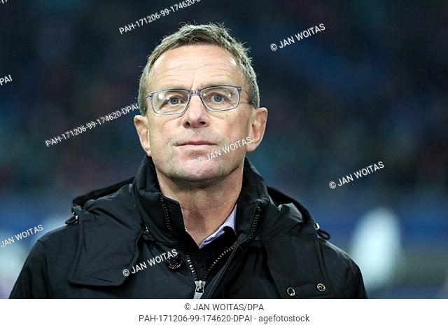 Leipzig's sports director Ralf Rangnick before the Champions League soccer match between RB Leipzig and Besiktas Istanbul in the Red Bull Arena in Leipzig