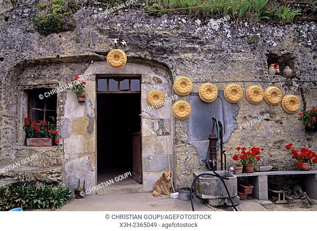 cave dwelling, Villaines-les-Rochers, Indre-et-Loire department, Centre region, France, Europe