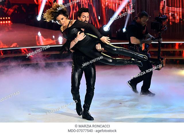 The Italian journalist marzia Roncacci with her dance master Samuel Peron during the fourth episode of the show Ballando Con Le Stelle auditorium Rai Foro...