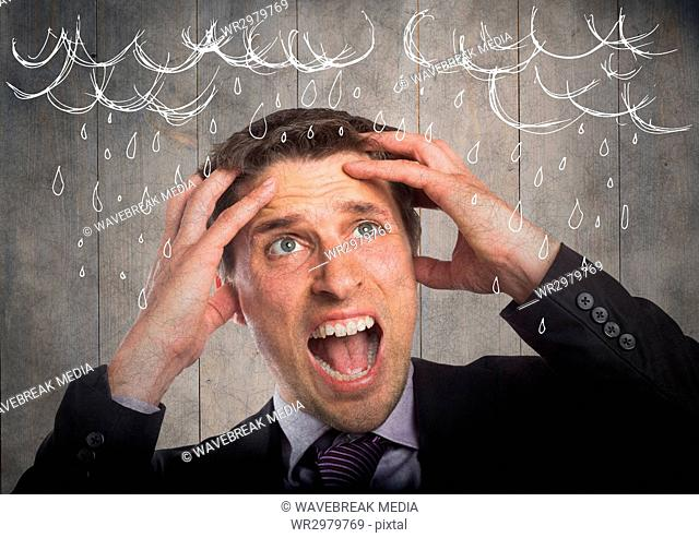 Frustrated business man against grey wood panel and 3d white rain graphics