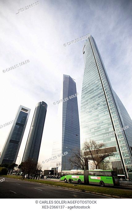 Skyscrapers. Cuatro Torres Business Area (Four Towers Business Area). Paseo de la Castellana. Madrid. Spain