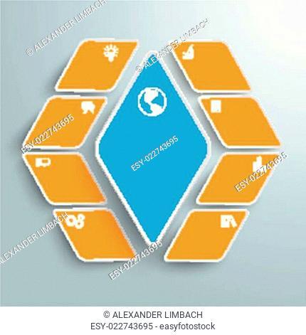 Blue Orange Rhombus Pieces 8 Options