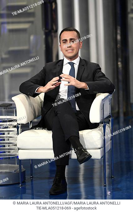Italian Deputy Prime Minister and Minister of Economic Development Luigi Di Maio during the tv show Porta a porta in Rome, ITALY-04-12-2018