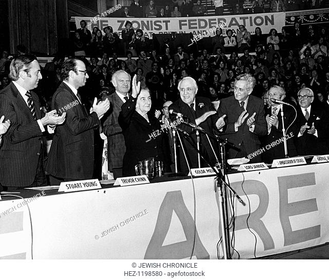 Golda Meir (1898-1978), Israeli Prime Minister at Albert Hall rally