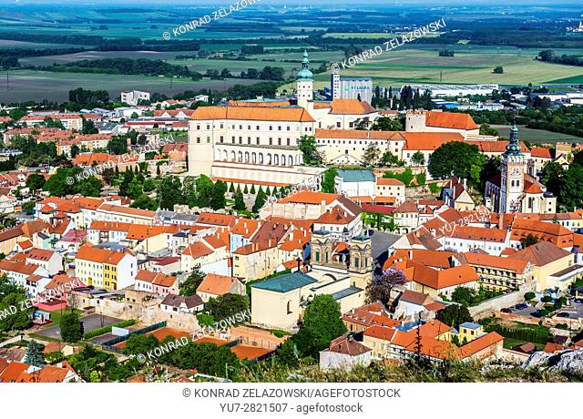 Aerial view from Foly Hill on Mikulov town with Mikulov Castle, Dietrichstein tomb and Saint Wenceslas Church, Czech Republic