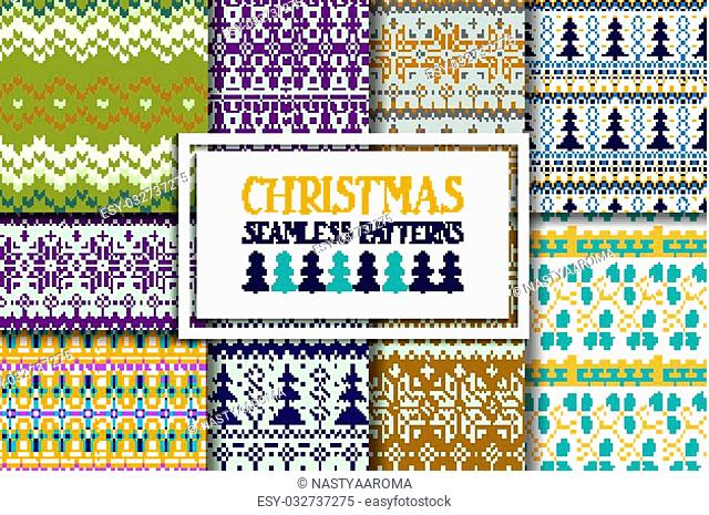 Set of traditional knitted Christmas patterns. fashion style pattern background with tribal shape elements. Vector illustration