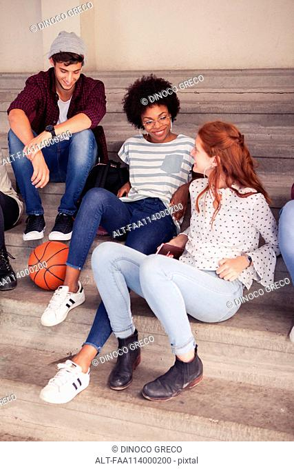 Friends hanging out after school