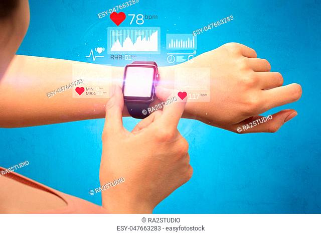 Female hand with smartwatch and health application icons nearby