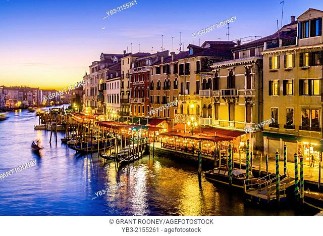 View of The Grand Canal & Venetian Architecture From The Rialto Bridge, Venice, Italy