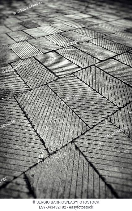 Tiled City, detail from a floor Blados a street in the city, decoration and safety