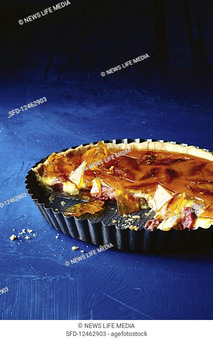 Custard and rhubarb toffee tart