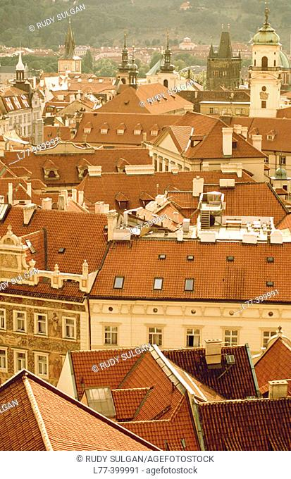 Rooftops of buildings. Prague, Czech Republic