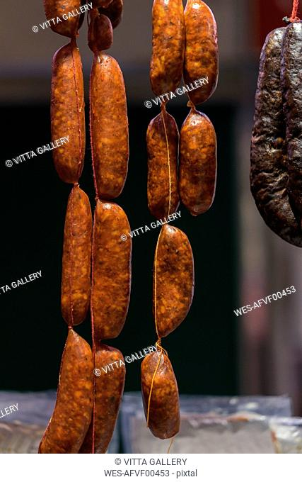 Sausage hanging in butchery