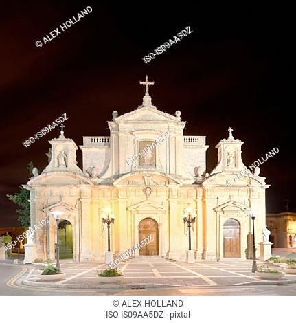 St Paul's Church, illuminated night, Rabat, Malta