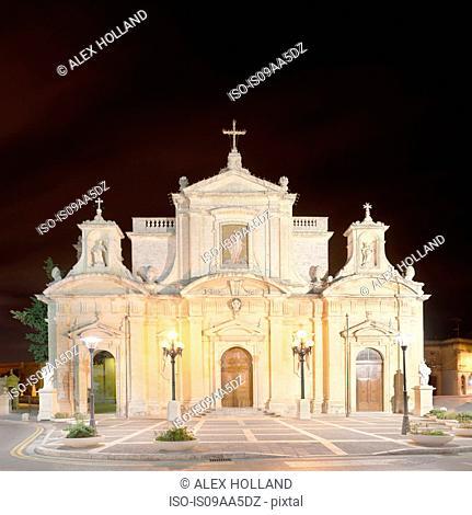 St Paul's Church, illuminated night, Rabat, Malta