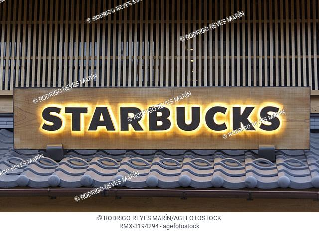 December 5, 2018, Saitama, Japan - A signboard of Starbucks on display outside its shop in Kawagoe. The branch opened last March is located near to the Toki no...
