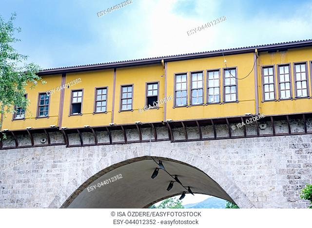 High resolution panoramic view of historical Irgandi Bridge in Bursa,Turkey. 20 May 2018