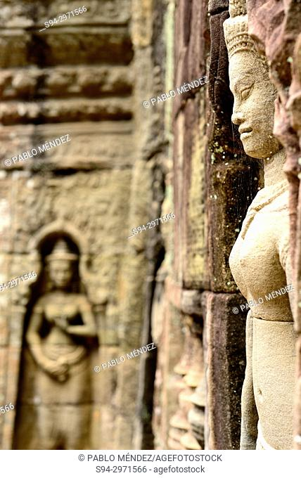 Relieves in the temple of Ta Som, Angkor area, Siem Reap, Cambodia