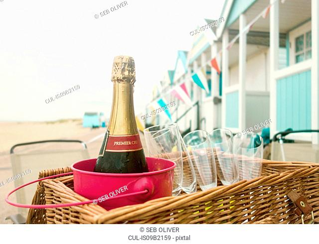 Bottle of champagne and champagne flute in picnic basket, Southwold, Suffolk, UK