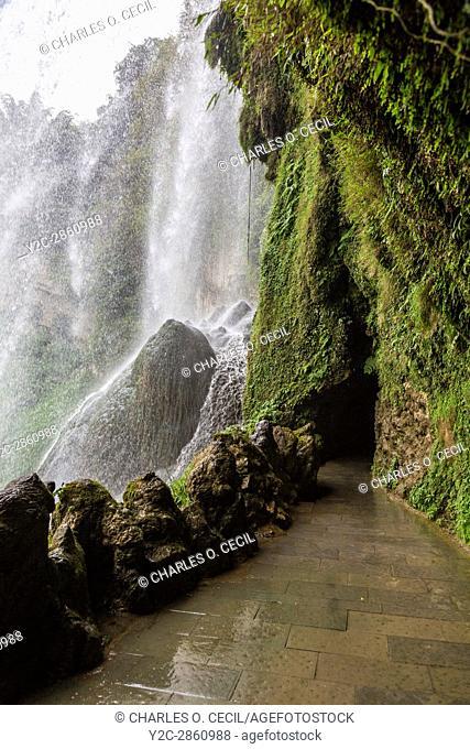 Guizhou Province, China. Yellow Fruit Tree (Huangguoshu) Waterfall. View from behind the Falls
