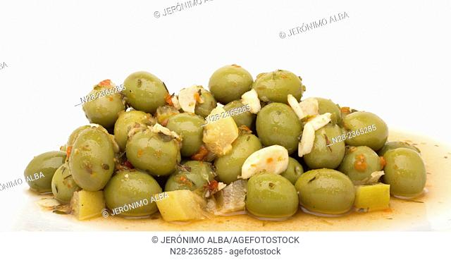 Whole green olives pickled lemon style