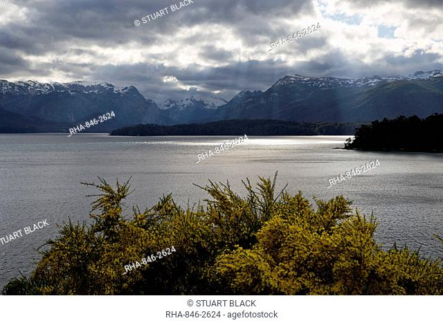 View across Lake Nahuel Huapi, Villa La Angostura, Nahuel Huapi National Park, Lake District, Argentina, South America