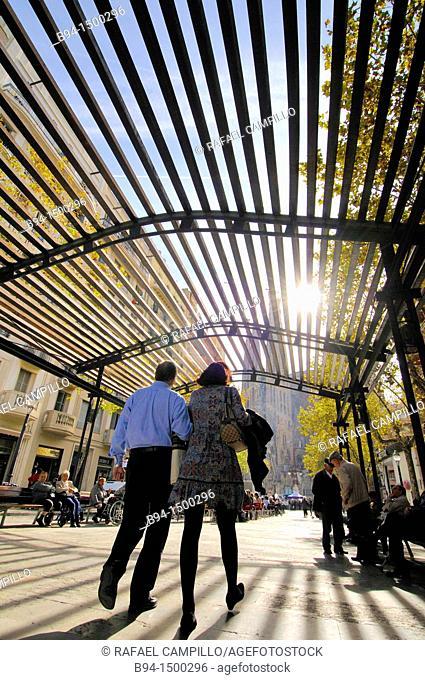 Gaudi avenue. Sagrada Familia neighborhood. Eixample district, Barcelona, Catalonia, Spain