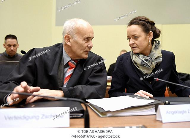 Defendant B. Zschaepe and her lawyer Hermann Borchert at the upper regional court inMunich, Germany, 16 March 2016. The trial concerning the homicides and...