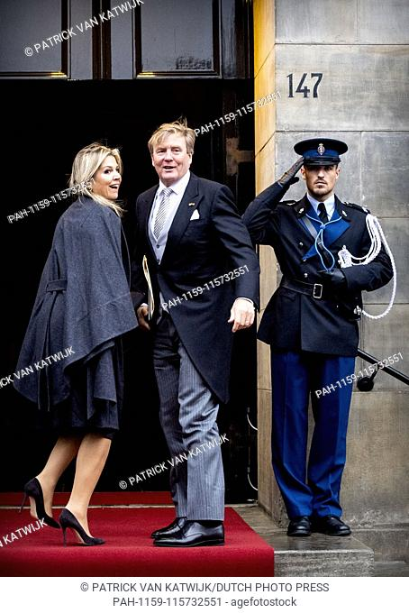 King Willem-Alexander and Queen Maxima of The Netherlands attend the new year reception for the Corps Diplotique in the Royal Palace in Amsterdam