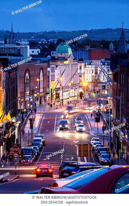 Ireland, County Cork, Cork City, elevated city view from St. Patrick's Street, dusk