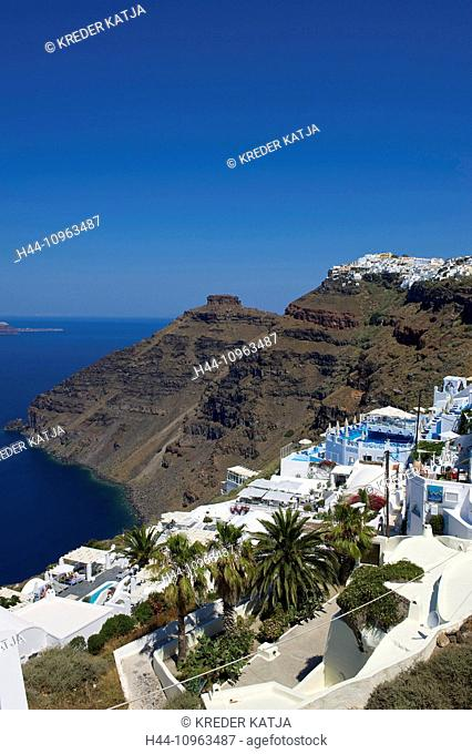 Greece, Europe, Cyclades, island, isle, islands, Greek, outside, Mediterranean Sea, day, nobody, Santorin, Santorini, Firostefani, town, view