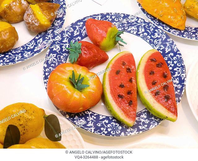 Frutta Martorana, traditional marzipan sweets, Palermo, Sicily, Italy