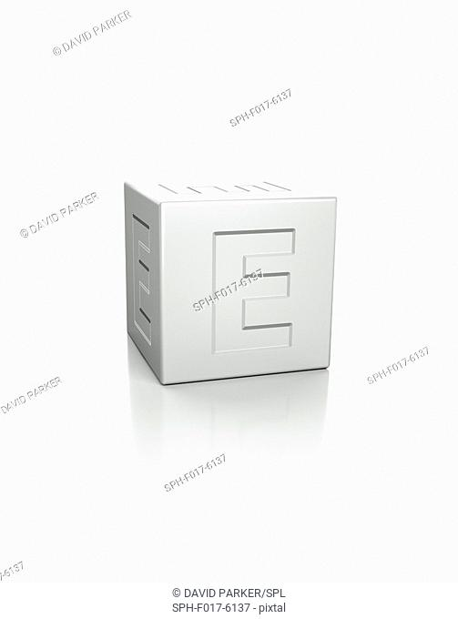 Cube with the letter E embossed