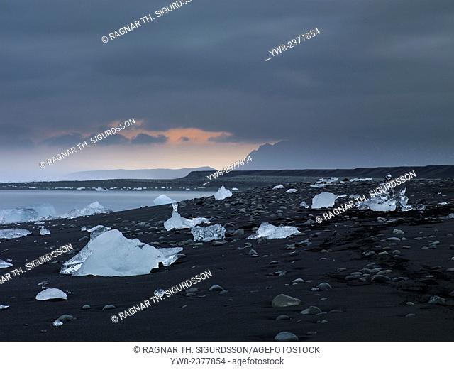 Large chucks of ice calve off of the Breidamerkurjokull and then wash ashore on the black sand beach