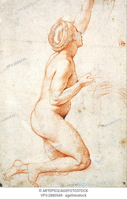 Raphael (Raffaello Santi) - A Kneeling Nude Woman with her Left Arm Raised - National Galleries of Scotland