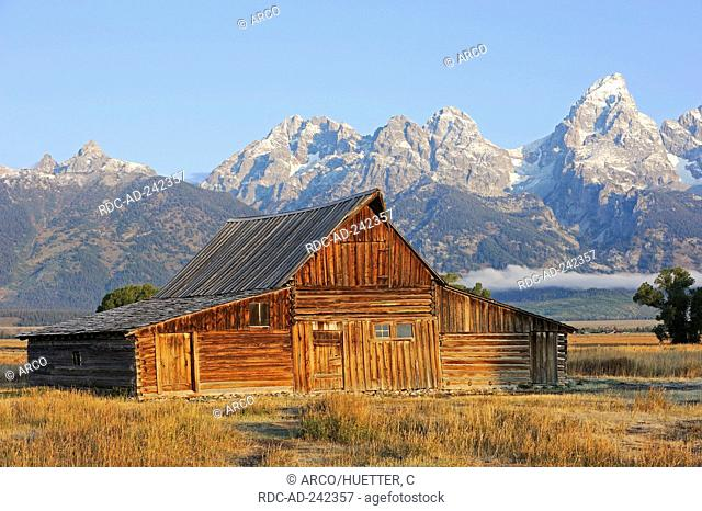 Old barn in front of Teton Range Grand Teton national park Wyoming USA Rocky Mountains