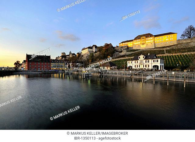 View over the harbour towards the promenade to the historic town centre and the administrative building of the State Winery, Meersburg, Lake Constance district