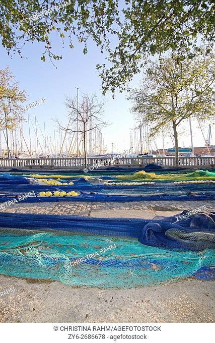 Fishing nets out to dry near fishing port in Palma de Mallorca, Balearic islands, Spain