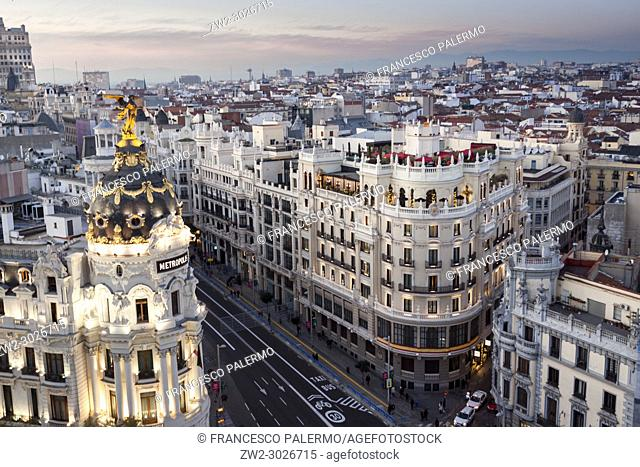 The rooftops of buildings in Madrid stretch as far as the eye can see. Madrid. Spain