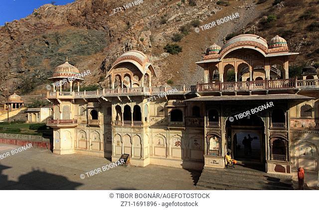 India, Rajasthan, Jaipur, Galta, temples