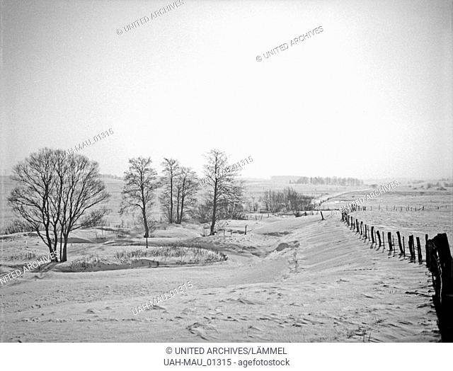 Winter in der Landschaft Stablack in Ostpreußen, 1930er Jahre. Wintertime at Stablack landscape, East Prussia, 1930s