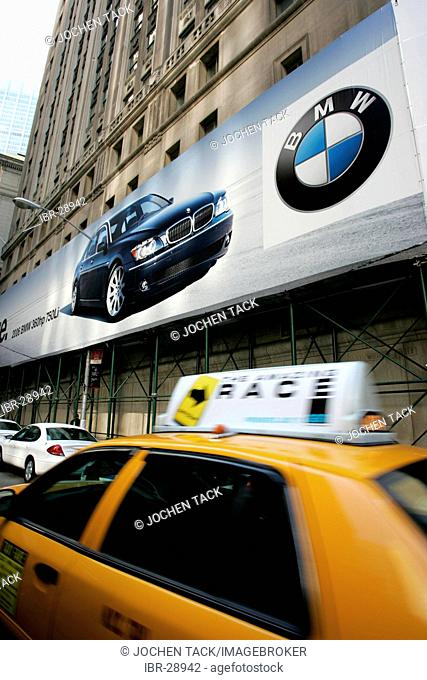 USA, United States of America, New York City: Downtown, Financial District. BMW adervertising