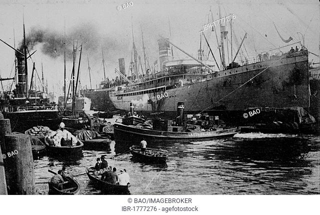 Steamer Gouverneur in the harbor, Hamburg, Germany, Europe, historical photo from around 1899