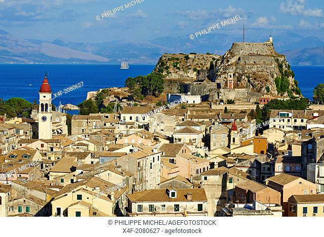 Greece, Ionian island, Corfu island, Kerkyra city, Unesco world heritage, the old Fortress and Agios Spyridon church