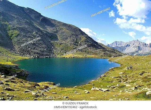 France, Hautes Alpes, Brianconnais area, the upper valley of La Claree, Lac Serpent 2448m