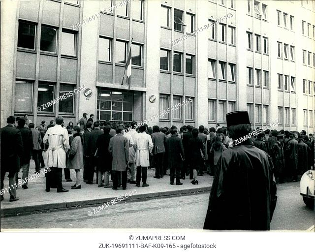Nov. 11, 1969 - Medics Threaten To Occupy School: First And Second Year Students Of The Paris Medical School Threatened To Occupy The School Premises As A...