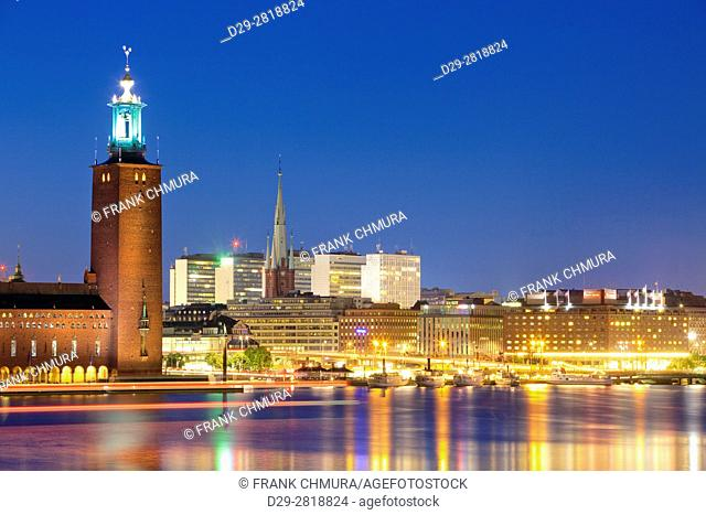 Sweden, Stockholm - The Town Hall (Stadshuset) and City at dusk